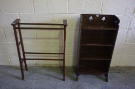 Arts & Crafts Style Oak Open Bookcase, 94cm high, 46cm wide, also with a mahogany towel rail, (2)