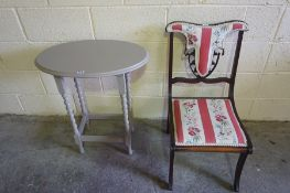 Regency Style Parlour Chair, 75cm high, also with a grey painted occasional table, (2)