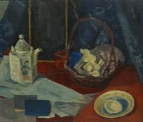 "Scottish School ""Still Life of Basket with Oriental Tea Pot"" Oil on Canvas, Unsigned, 44cm x 54cm,"