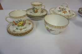 A Part Porcelain Coffee Set by Dresden, circa early 20th century, Decorated with colourful floral