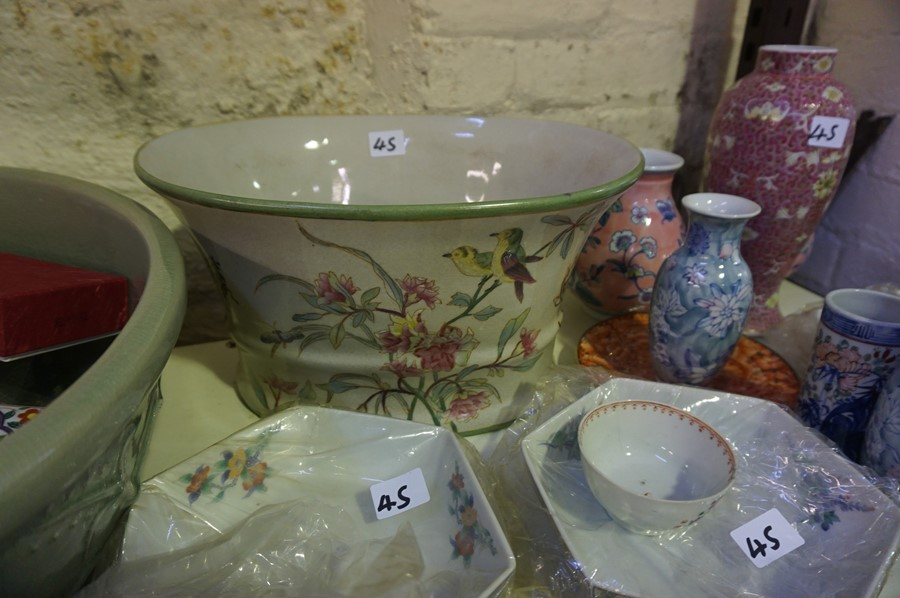 Lot 45 - A Mixed Lot of Modern Oriental Porcelain and Pottery, to include a large celadon bowl, vases etc,