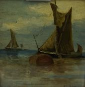 """Boats at Sea"" Oil on Board, signed indistinctly lower right, 12cm x 11.5cm, gilt framed, also"
