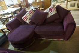 Modern Purple Velour Three Seater Sofa with Matching Two Seater Sofa, Largest 74cm high, 235cm wide,