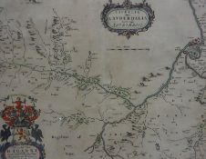 After Johannes Blaue, Antique Hand Coloured Map of the Scottish Borders, 38.5cm x 50cm, framed