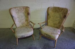 A Pair of Ercol Elm and Beech Armchairs, 102cm high, (2)