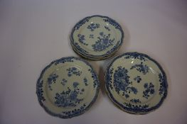 Fourteen Near Matching Chinese Blue and White Plates, (Qing Dynasty) Decorated with allover panels
