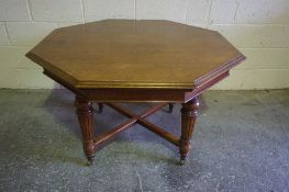 Late Victorian Oak Centre Table, raised on reeded and turned legs with brass castors, 74cm high,