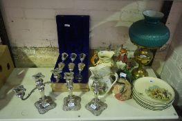 Mixed Lot of China, Sundries and Plated Wares, to include an oil lamp, Royal Doulton character jug