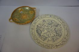 Large Poole Charger by Ralph Zdenka, Decorated with allover floral panels, signed and dated 10/98 to