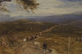 "Tom Scott R.S.A (Scottish 1850-1934) ""Drover with his Dog and Cattle on the Cross Borders Drove Road"