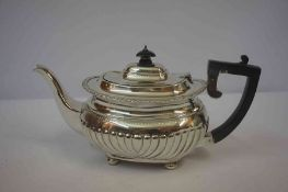 Silver Teapot, Hallmarks for Birmingham, Monogrammed, Having gadrooned decoration, raised on four