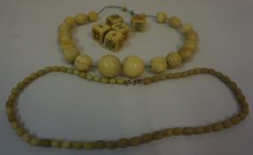 String of Whalebone Beads, also with a string of African tribal ivory beads, pre 1947, and five
