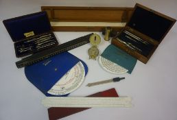 Mixed Lot of Architectural Instruments, to include cased drawing instruments, Lensatic compass,