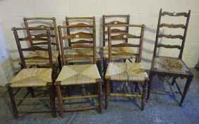 Seven Assorted Woven Rush Seated Chairs, circa 19th century, (7)