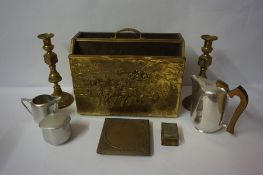 Mixed Lot of Brass Wares, to include a magazine rack, pair of candlesticks, also with a four piece
