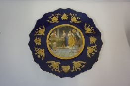 Royal Limoges Cobalt Blue Plate, Decorated with a pictorial image to the centre, also with a black