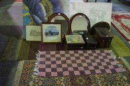 Mixed Lot of Sundries, to include rugs, sewing box, tapestries, pictures, footstool etc (12)