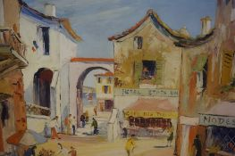 "George Hann (British 1900-1979) ""Southern France Street Scene"" Oil on Canvas, signed, 50cm x 60cm"