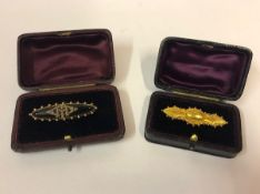 15ct Gold Ladies Bar Brooch, circa late 19th century, boxed, also with an unmarked gold bar