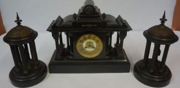 Victorian Black Slate Clock Garniture, Comprising of a large clock with pair of Corinthian