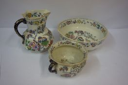 Masons Pottery Three Piece Toilet Set, Comprising of jug, bowl and chamber pot, (3)