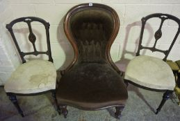 Victorian Mahogany Framed Spoon Back Chair, also with a pair of parlour chairs, (3)