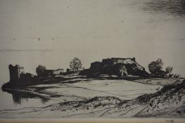"""""""Castle Urquhart Loch Ness"""" Signed Etching, signed lower right,"""