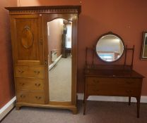Mahogany Wardrobe, circa early 20th century, Having a mirrored door and drawers, also with a