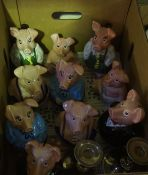Mixed Lot of Sundries, to include oil lamp, brass fire irons, pig ornaments etc