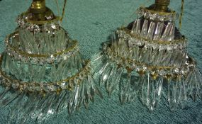 Pair of Cut Glass Wall Chandeliers / Lights, (2)