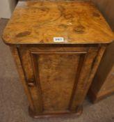 Victorian Burr Walnut Pot Cupboard, Having a cupboard door enclosing a shelved interior,