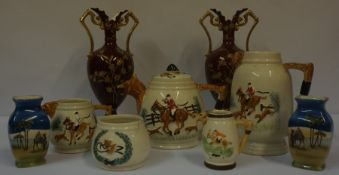 Mixed Lot of Ceramics, to include Hunting themed tea wares, pair of vases etc