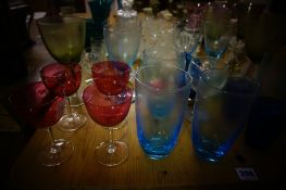Quantity of Coloured Glass, to include cranberry glasses, also with some crystal wares