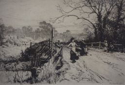 "Percy Robertson (1868-1934) ""Country Path with Figures"" Etching, signed lower right"