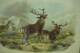 "After Landseer ""The Kill"" Print, circa early 20th century, also with a similar print of stags, 34."