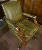 Swivel Desk Chair, Upholstered in green hide,