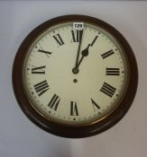 Railway Circular Wall Clock, circa early 20th century, Having a fusee movement, with pendulum and