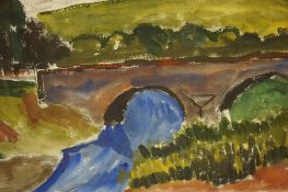 "John McNairn (Scottish 1910-2009) ""Bridge with Landscape to Background"" Watercolour"