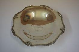 Silver Shallow Bowl, Hallmarks for Adie Bros Birmingham 1933-34, engraved, 15.68 oz