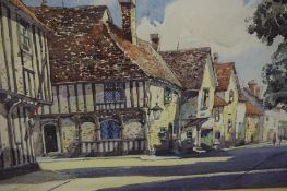 "British School ""English Village Scene"" Watercolour, signed Lovenham? also with a picture of birds of"