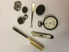 Quantity of Jewellery and Silver, to include a silver handled baby brush, gun metal cased pocket