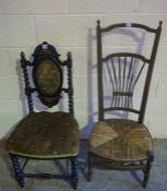 Victorian Papier Mache Chair, also with a woven rush seated chair, (2)