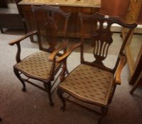 Pair of Edwardian Mahogany Parlour Armchairs, (2)