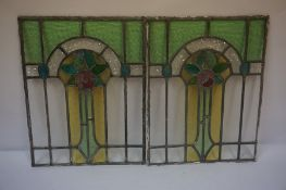 Pair of Art Nouveau Style Stained Colour Glass Panels, (2)
