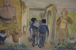 "Agnes Fraser (British) ""Modern Subject with Figures"" Watercolour, signed and dated 84 to lower"
