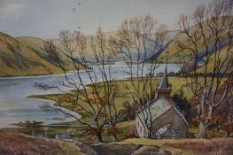 "TJ Bertram (Scottish Contemporary) ""St Mary,s Loch and Cappercleuch Kirk, Selkirkshire"" Watercolour,"