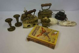 Quantity of Brass Ware and Sundries, to include a Victorian chamber stick, two brass charcoal irons,