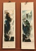 Two Chinese Scroll Watercolours, signed, also with a Chinese picture on rice paper, signed, (3)