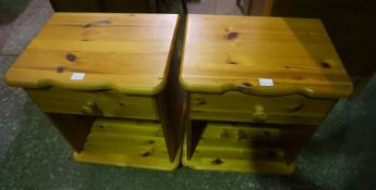 Pair of Matching Pine Bedside Tables, (2)