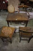 Regency Mahogany Side Table, Having a single drawer, also with four assorted 19th century chairs, (